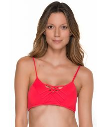 Red bikini bra top with strappy details - TOP CHIEF TRI CHERRY