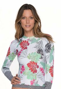 Rashguard top with a mixed floral/geometric print - TOP MERRY BLOSSOM