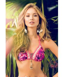 Pink triangle top decorated with lace and beads - SOUTIEN MAR ORGANICO