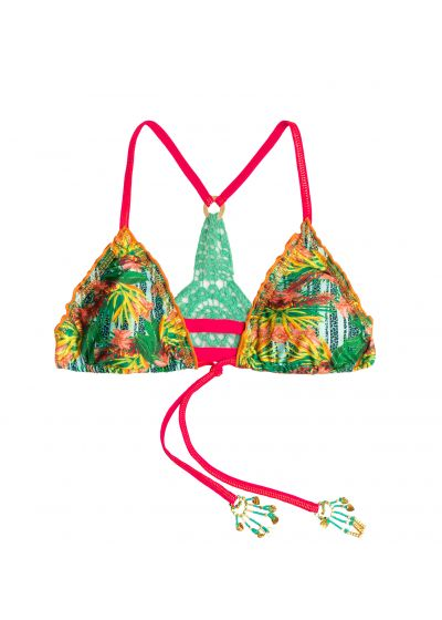 Tropical triangle top with beads and crochet back - TOP MAR AMAZÓNICO