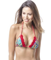 Printed bikini top with red crochet - TOP MAR CULTURAL