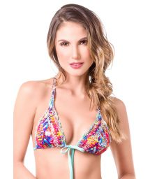Macramé strappy-back printed triangle bikini top - TOP MAR DE COLORES