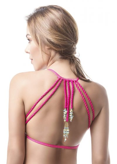 Tropical triangle top with accessorized ties - TOP MAR DE CRISTALES