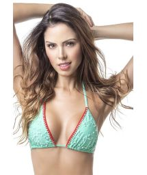 Green water triangle top embroidered with pearls - TOP MAR DE SIETE COLORES