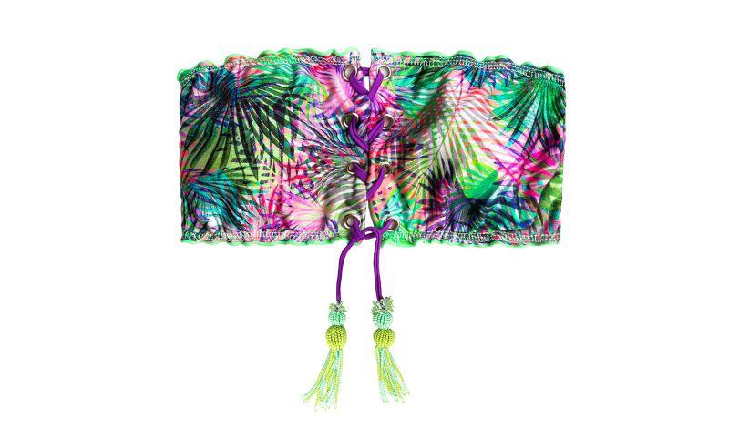 Tropical laced bandeau bikini top - TOP MAR FORESTAL BANDEAU
