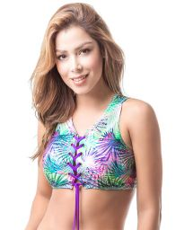 Laced crop top with beaded pompoms - TOP MAR FORESTAL HALTER