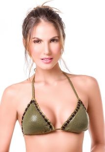 V-neck khaki oiled-look triangle top - TOP MAR MILITAR