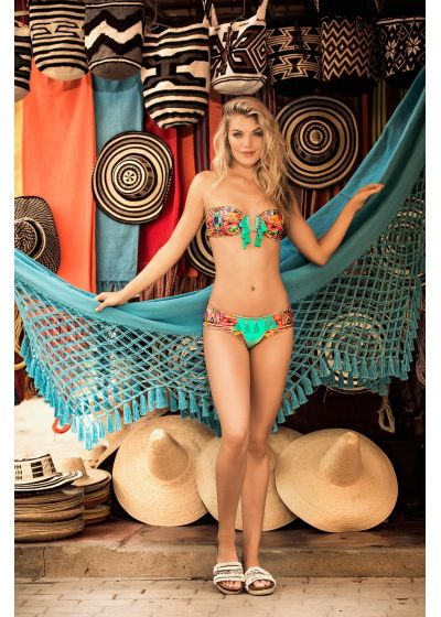 Colorful bandeau top with fringed pompoms - TOP MAR WAYUU