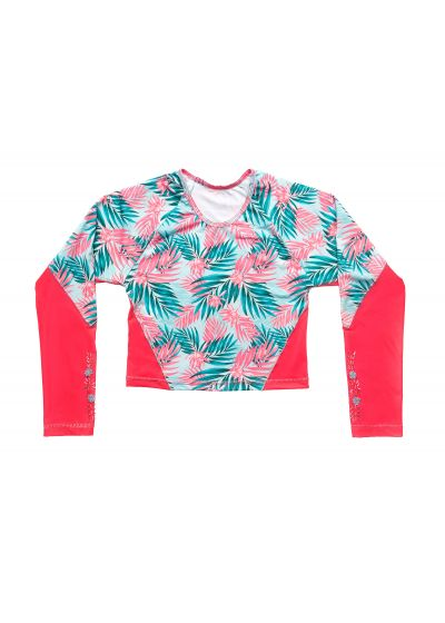 Pink & blue foliage rashguard - TOP PALMAS DEL MAR