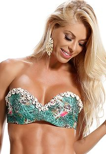 Padded printed bandeau top with seashell accessories - SOUTIEN CAJUEIRO