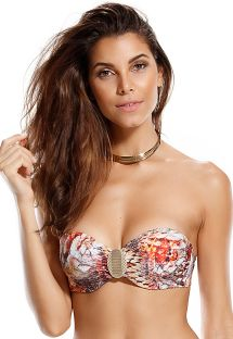 Bandeau top with cups, scale pattern print - SOUTIEN ESCAMAS