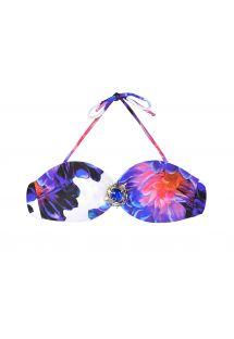 Bikinitopp med blomstret fiolett stoff og bandeau-form - SOUTIEN HYPNOTIC FLORAL