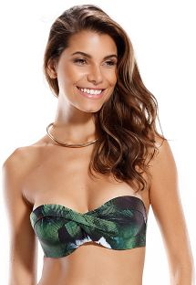 Green tropical print padded bandeau top - SOUTIEN LISBOA