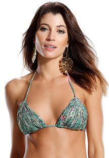 Strappy green print triangle top - SOUTIEN PRAIA DO FORTE