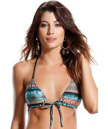 Blue, ethnic-print, T-back, macramé triangle bikini top - SOUTIEN TUBARAO LISTRADO