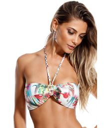Floral print bandeau top with braided straps - SOUTIEN TURQUIA