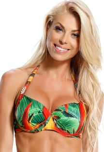 Underwired balconette top in tropical print - TOP AGUIA REAL