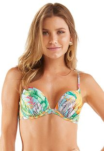 Underwired balconette top with colorful leaves print - TOP AMADA HASTE NEON