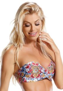 Padded bandeau top in colorful print - TOP FLOR DE LIZ