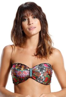 Accessorized bandeau bikini top in colorful print - TOP JABUTICABA