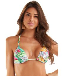 Pleated top with colorful leaves print - TOP TRIANGULO HASTE NEON