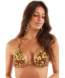 Yellow animal print triangle bikini top - TOP TRIANGULO PELE SELVAGEM