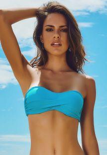 Niebieski biustonosz od bikini typu opaska, watowany - SOUTIEN ACGUA