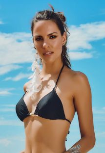 Black triangle bikini top with gold-coloured details - SOUTIEN AREIA PRETA