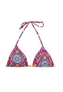 Pembe desenli sürgülü üçgen bikini üstü - SOUTIEN AREIA ROSA