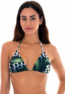 Geometric/leaf-print triangle top - SOUTIEN AUSTRALIA
