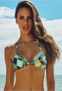 Corpiño de bikini triangular doble material estampado - SOUTIEN BELMONTE
