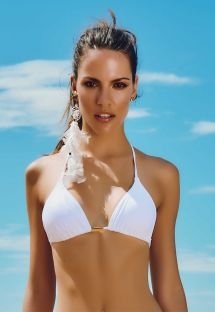 Adjustable white triangle swimsuit top - SOUTIEN FAROL