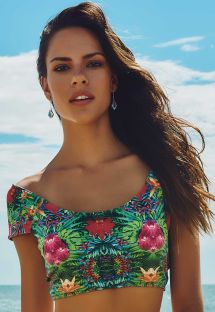 Tropical floral swimsuit crop top - SOUTIEN MAR MORENO