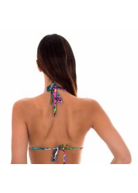 Multicoloured printed scarf triangle bikini top - SOUTIEN ONEGA