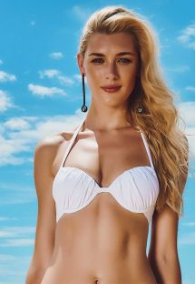 White pleated balconette top with underwires - SOUTIEN PONTA DO SAUIPE