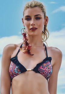 Mønstret trekant bikini-top med sorte flæser - SOUTIEN PORTO DA BARRA