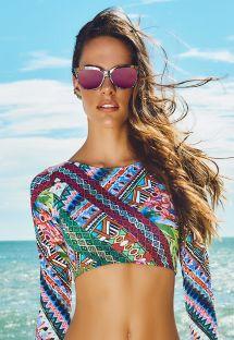 Multicolour Long Sleeve Swimsuit Crop Top - SOUTIEN REFUGIO