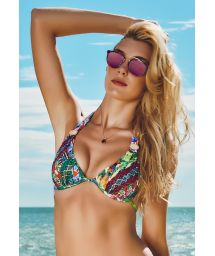 Colourful bandeau top, pearly accessories - SOUTIEN RIBEIRINHA