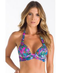 Printed scarf triangle bikini top with pleats - SOUTIEN SIKE