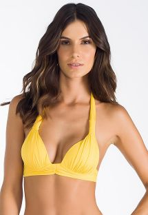 Yellow, padded, scarf triangle top, pleated - SOUTIEN SOL CELESTE