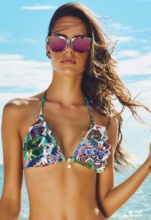 Fırfırlı tropikal çiçek temalı bikini üstü- SOUTIEN VERAO