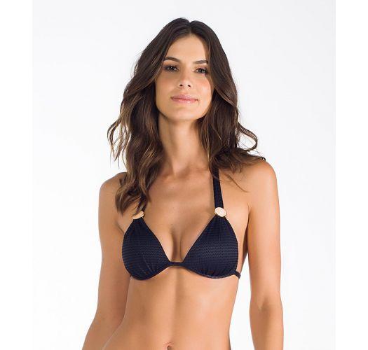 Black textured scarf triangle bikini top - SOUTIEN WUNAND