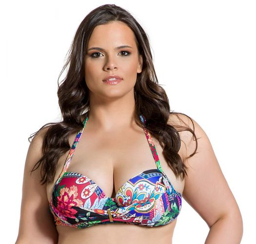 Large cup colorful plus size bikini top - TOP BELLA JARDIM ESCURO PLUS