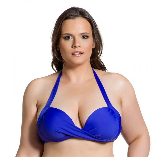 Plus size cobalt blue underwired balconette top - TOP CLASSIC COBALT PLUS
