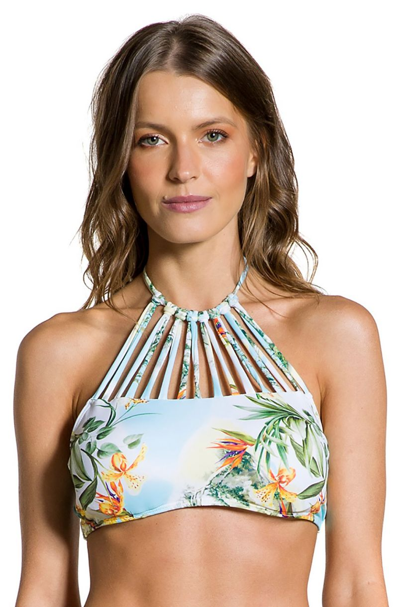Floral crop top with multiple straps - TOP CROPPED MANHÃ