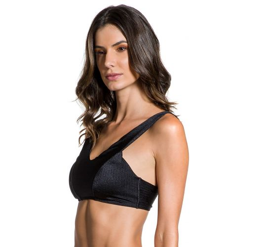 Textured black crop top - TOP CROPPED NOITE ESCURA
