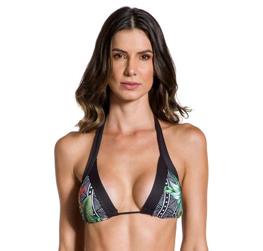Geometric & tropical triangle top with black edges - TOP FRONTEIRAS SUTIL ELEGANCIA