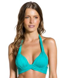 Turquoise padded halter top - TOP PLISSADO TURQUOISE