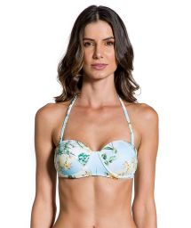 Floral bandeau bikini top with golden details - TOP PRAIA DAS ACACIAS