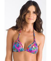 Multicoloured triangle bikini top with sheer panels - TOP ROSA MARINHA